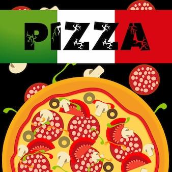 Modello di menu pizza, illustrazione vettoriale