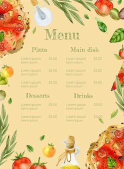 Modello dell'acquerello del menu della pizza con il basilico delle olive dei pomodori su fondo beige