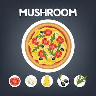 Pizza ai funghi senza carne. cucina vegetariana italiana