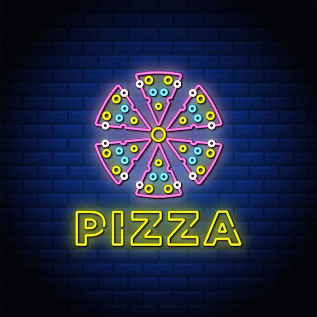 Pizza insegne al neon stile testo design con muro di mattoni di colore blu.