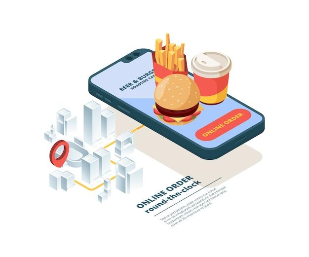 Ordina pizza online. smartphone schermo fast food immagini mobile app internet shopping ordine cibo spazzatura consegna veloce isometrica. ordina cibo con servizio di consegna, illustrazione di trasporto online