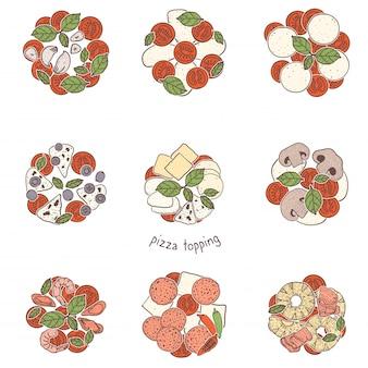 Pizza condimenti popolari, schizzi illustrazione