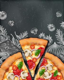 Annunci di poster di pizza con illustrazione cibo e illustrazione stile xilografia su sfondo lavagna, vista dall'alto