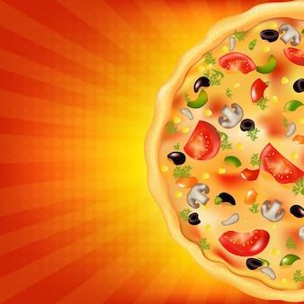 Poster di pizza con sunburst,.
