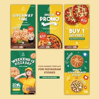 Modello di banner per pizza potrait per storie di instagram