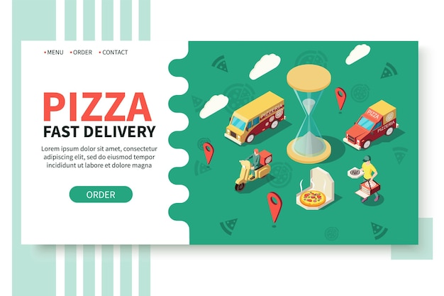 Sito web isometrico pizzeria produzione pizza