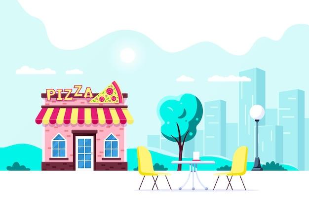 Progettazione edilizia ristorante pizzeria. caffè sulla strada della città. sagoma di grande città sullo sfondo. illustrazione di stile piatto.
