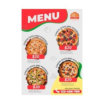 Modello di menu del ristorante pizzeria