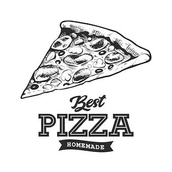 Emblema retrò della pizza. modello di logo. schizzo di pizza in bianco e nero. illustrazione vettoriale eps10.