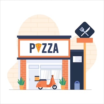 Disegno dell'illustrazione piatta della pizzeria