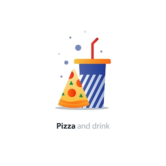 Fetta di pizza e bicchiere blu con strisce, icona del concetto di mangiare e bere, offerta di fast food