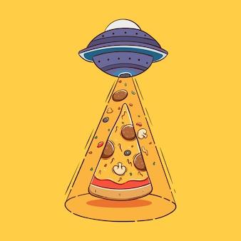 Fetta di pizza galleggiante con ufo o alieno