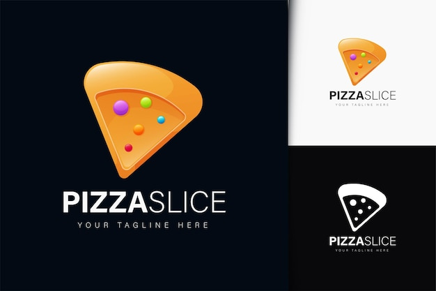 Design del logo della fetta di pizza con gradiente