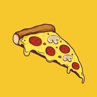 Fetta di pizza schizzo cibo illustrazione fast food vector
