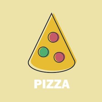Fetta di pizza illustrazione vettoriale in line art flat style design immagine divertente per il menu o il simbolo del sito