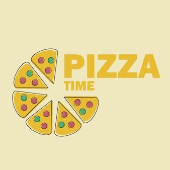 Fette di pizza illustrazione vettoriale in line art flat style design immagine divertente per il menu o il simbolo del sito