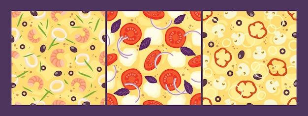 Pizza topping seamless patterns impostare formaggio, pomodori, cipolle, olive, frutti di mare, funghi.