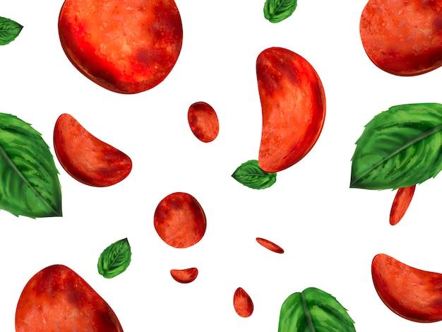 Illustrazione della carta da parati dei condimenti della pizza