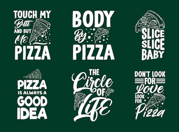 Maglietta tipografica per pizza e set di design di merchandising con grafica per pizza