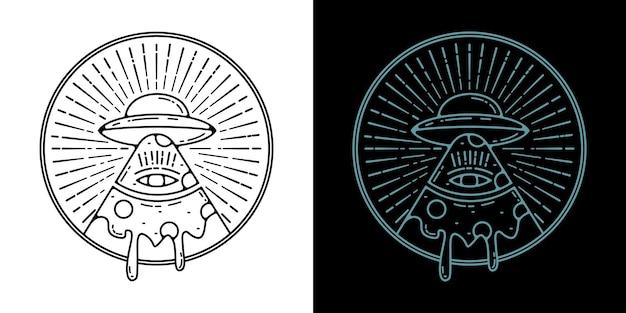 Pizza ufo monoline badge design