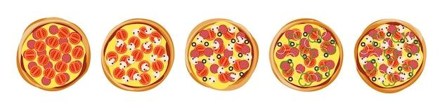 La pizza con diversi deliziosi ingredienti di riempimento imposta la vista dall'alto per il vettore del menu della pizzeria isolato