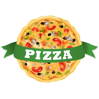 Pizza con nastro verde, su sfondo bianco, illustrazione