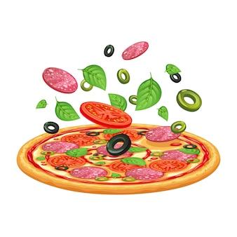 Pizza con peperone, mozzarella e pomodoro.