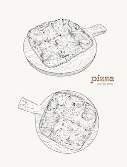 Pizza sul vettore di schizzo di tiraggio della mano del bordo di legno. prosciutto, pancetta e formaggio.