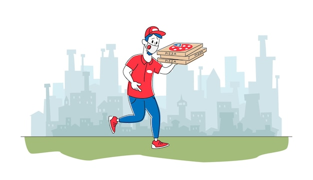 Carattere del corriere della pizzeria che indossa la maschera facciale protettiva che consegna la pizza ai clienti
