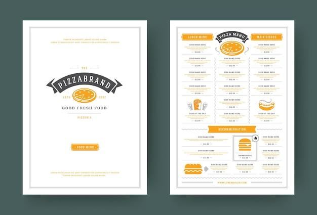 Pizzeria ristorante menu layout design brochure o flyer modello illustrazione vettoriale