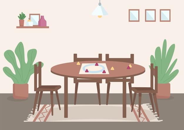 Luogo per l'illustrazione a colori piatta per il tempo libero della famiglia tavolo per giochi da tavolo per l'intrattenimento diurno