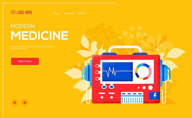 Posto per il testo, posto per la copia. volantino del concetto di defibrillatore, banner web, intestazione dell'interfaccia utente, entra nel sito. pagina di scorrimento moderna illustrazione del layout. .