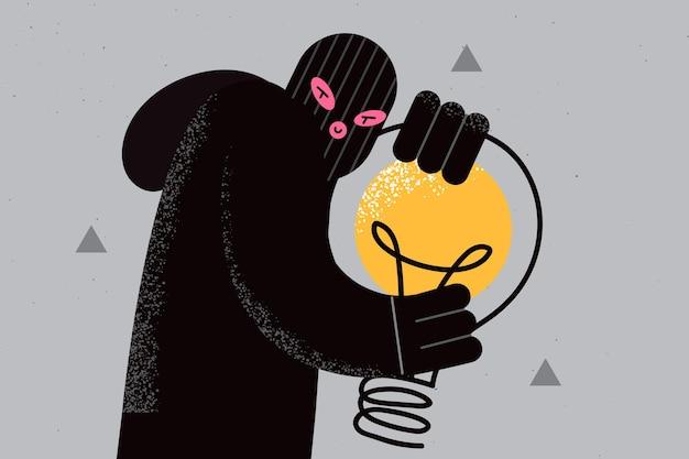 Concetto di plagio e ladro di idee. giovane ladro di frode in maschera nera e vestiti in piedi con in mano un'enorme lampadina illustrazione vettoriale delle mani