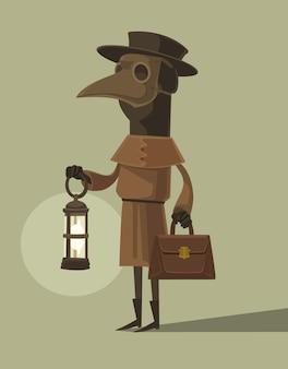 Personaggio del medico della peste in maschera di corvo