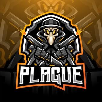 Logo della mascotte dell'esport di cannoniere della peste