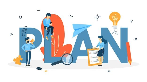 Concetto di piano. idea di pianificazione e strategia aziendale. stabilire un obiettivo o un obiettivo e seguire il programma. appartamento isolato