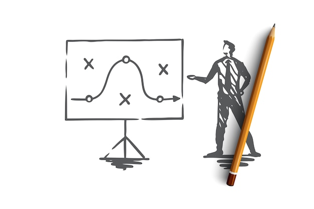Piano, strategia, marketing, progetto, concetto tattico. uomo d'affari disegnato a mano e schizzo di concetto di piano strategico