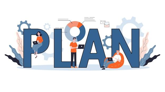 Pianificare il concetto di banner web. idea di business plan e strategia. stabilire un obiettivo o un obiettivo e seguire il programma. illustrazione
