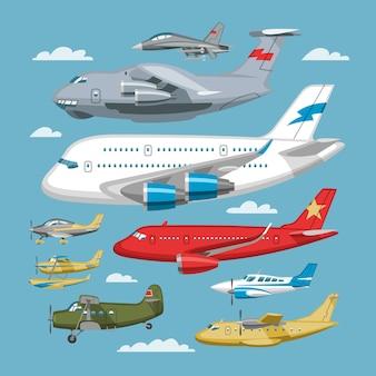 Aereo o trasporto aereo e aereo volo in cielo illustrazione set di aviazione di aereo o aereo di linea e cargo aereo sullo sfondo