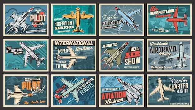 Poster retrò di aerei e aviazione, scuola di pilotaggio e voli aerei.