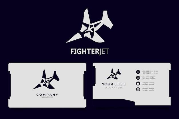 Jet aereo concetto minimalista logo moderno con biglietto da visita