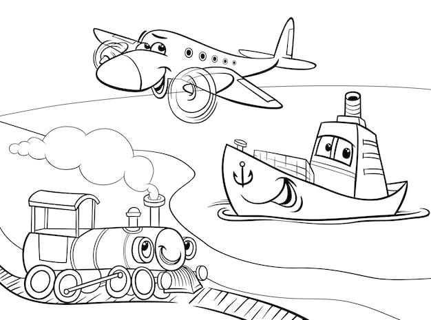 Pagina da colorare di cartone animato nave treno aereo