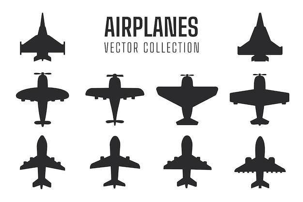 Siluetta dell'aereo impostata sagoma di aereo di linea semplice da combattimento.