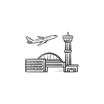 Aereo che decolla all'icona di doodle di contorni disegnati a mano dell'aeroporto. partenza in aereo, concetto di viaggio di vacanza. illustrazione di schizzo vettoriale per stampa, web, mobile e infografica su sfondo bianco.