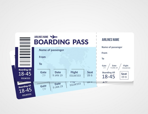 Biglietto aereo, modello di carta d'imbarco della compagnia aerea.