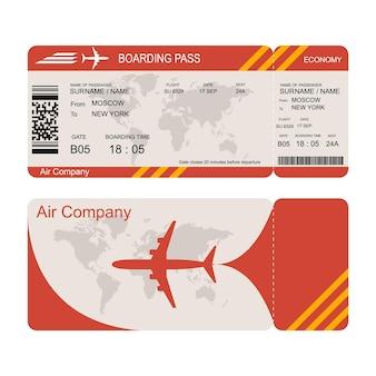 Modello di biglietto aereo. volo in economia aerea. disegno rosso. carta d'imbarco per il decollo dall'aereo. illustrazione vettoriale isolato su sfondo bianco