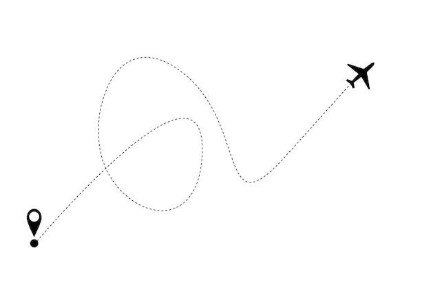 Aereo e traccia icona su sfondo bianco. illustrazione vettoriale