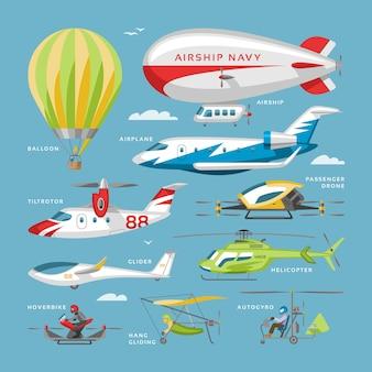 Aereo vettore aereo o aereo e jet volo trasporto ed elicottero in cielo illustrazione set di aviazione di aereo o aereo di linea e cargo aereo isolato su sfondo