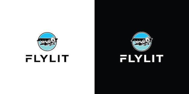 Modello di logo di progettazione dell'illustrazione dell'icona di vettore dell'aereo vettore premium