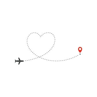 Percorso aereo, direzione del percorso dell'aereo e punto rosso di destinazione. Vettore Premium